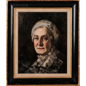 Frank Duveneck (American, 1848-1919)    Old Lady with a Cap
