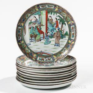 Ten Rose Mandarin Export Porcelain Plates