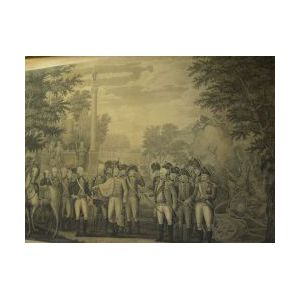 Framed Print Depicting the British Surrendering to George Washington at Yorktown.