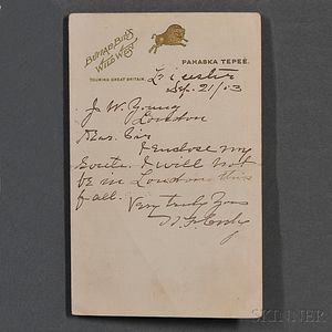 "Cody, William Frederick ""Buffalo Bill"" (1846-1917) Autograph Note Signed, 21 September 1913."