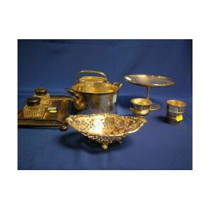 Three Sterling Silver Table Items and Four Silver Plated Table Items