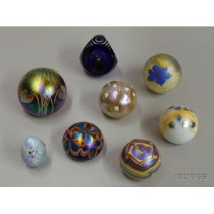 Eight Iridescent Studio Paperweights