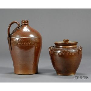 Stoneware Covered Jar and Jug