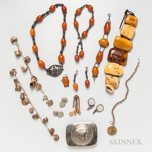 Group of Silver and Amber Jewelry