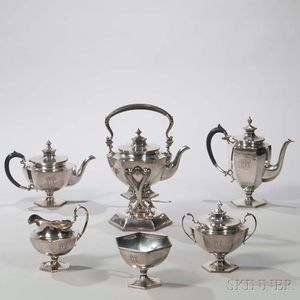 Six-piece Roger Williams Sterling Silver Tea and Coffee Service