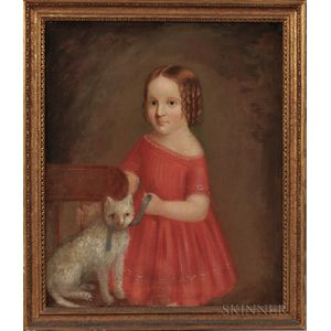 American School, 19th Century      Portrait of a Girl in a Red Dress with a Cat