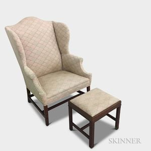 George III Upholstered Mahogany Wing Chair and a Footstool