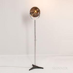 Reggiani Adjustable Chromed Steel and Shaded Glass Floor Lamp