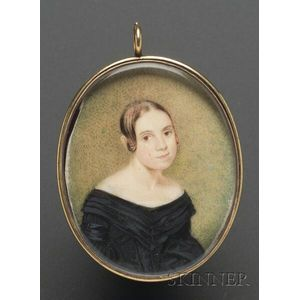"""Portrait Miniature of """"Mary E. Clark at the age of 19,"""""""