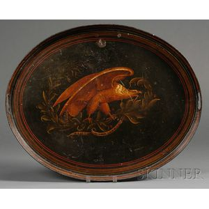 Paint-decorated Anti-War Tin Tray with Eagle