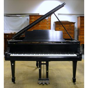 Steinway & Sons Ebonized Baby Grand Piano with Bench