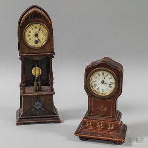 Two Miniature Grandfather Desk Clocks