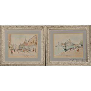 Mykola Vasyl Krychevsky (Ukrainian, 1898-1961)      Two Views of Venice: Santa Maria della Salute