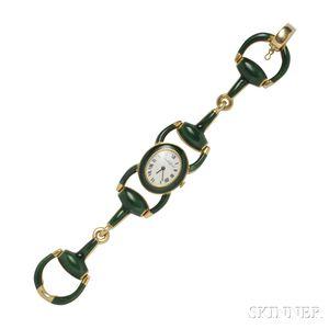 18kt Gold and Enamel Wristwatch, Bueche-Girod
