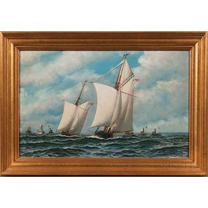 Antonio Nicolo Gasparo Jacobsen (Danish/American, 1850-1921)      The Schooner Yachts Dauntless