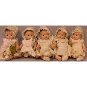 Five Composition Madame Alexander Dionne Quintuplet Baby Dolls