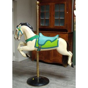 Carved and Painted Wooden Jumper Carousel Horse