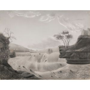 American School, 19th Century      View of a Waterfall.