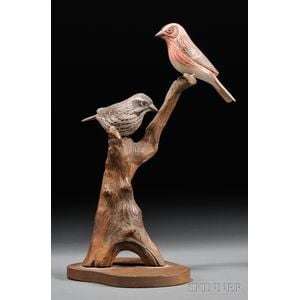 Jess Blackstone Bird Tree with Carved and Painted Purple Finch Figures