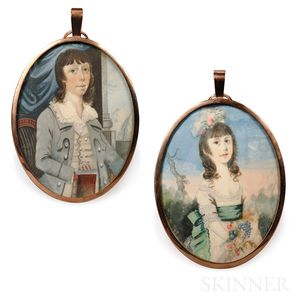 English School, Late 18th Century      Pair of Portrait Miniatures, Probably Brother and Sister.