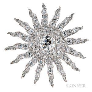 Antique Diamond Sunburst Brooch, Howard & Co.