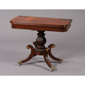 Classical Mahogany Carved and Mahogany Veneer Games Table
