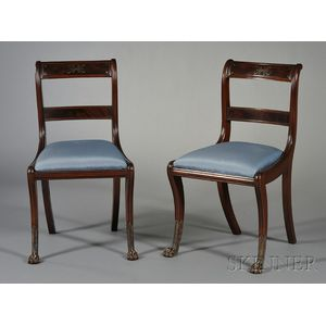 Four Regency-style Brass-inlaid Dining Chairs