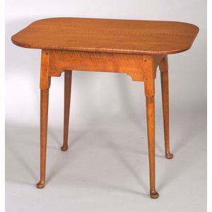 Queen Anne Tiger Maple and Maple Tea Table