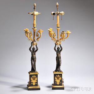 Pair of Empire-style Bronze Four-light Candelabra
