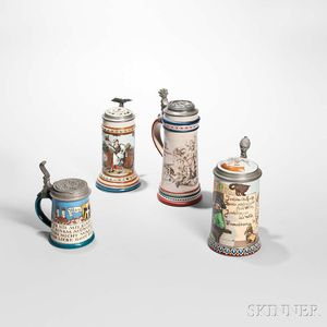 Three Mettlach Steins and a German Stein