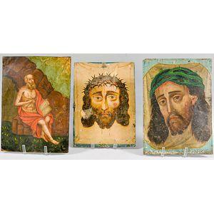 Three Painted Tin Retablos
