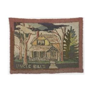 """Wool and Cotton """"Uncle Bill's"""" House Pictorial Hooked Rug"""