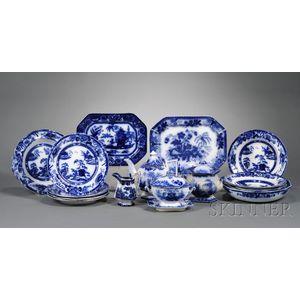 Seventeen Assorted Flow Blue Tableware Items