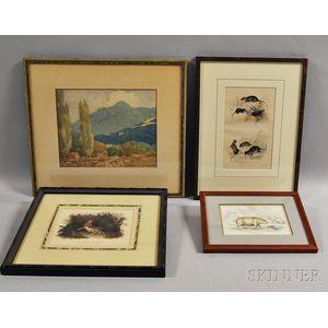 Four Framed Works:      Harris Osborn (American, 1871-1935), California Landscape