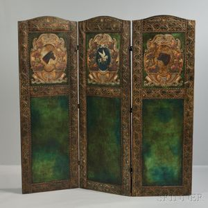 Embossed and Polychrome Painted Leather Folding Screen from Thomas W. Lawson