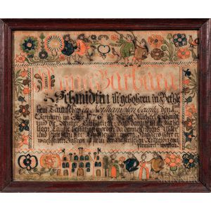 Birth Fraktur for Anna Barbara Schmidt