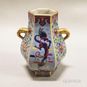 Enameled Six-sided Hu-form Vase