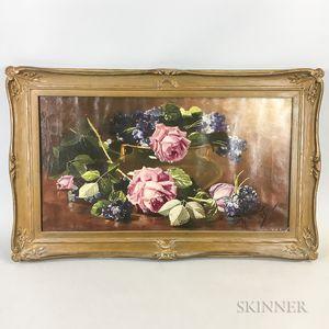 Edward Chalmers Leavitt (Rhode Island, 1842-1904)       Still Life with Roses