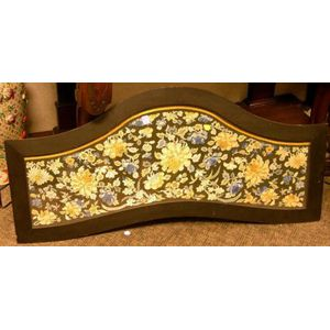 Ebonized Wood Framed Chinese Silk Floral Embroidered Panel Serving Tray.