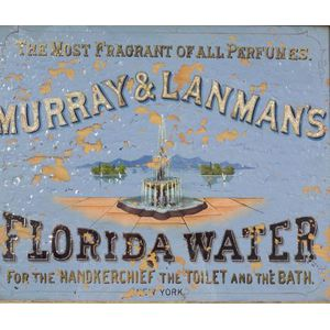 """Reverse Painted Glass """"FLORIDA WATER"""" Perfume Trade Sign"""