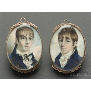 Pair of Portrait Miniatures of Two Brothers