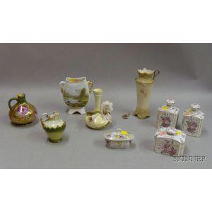 Nine Hand-painted Porcelain Ceramic Vanity Items
