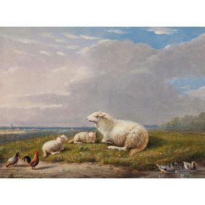 Franz Van Severdonck (Belgian, 1809-1889)      Ewe and Lambs in a Meadow