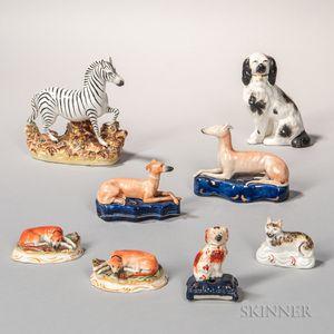 Eight Staffordshire Animals