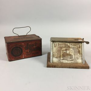 """Charles Odence """"Boston Trade"""" Tin and Glass Cigar Cutter and a """"Just Suits Cut Plug"""" Tin.     Estimate $200-300"""