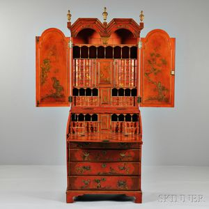 Georgian-style Red Japanned Cabinet Secretary