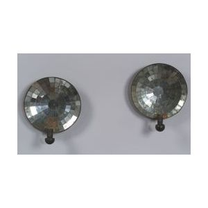 Pair of Mirrored Tin Candle Sconces