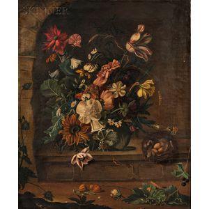 Flemish School, 17th Century Style      Still Life of Flowers and a Bird