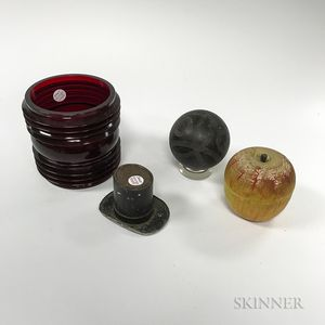 Red Glass Lantern Shade, an Apple-form Game, a Top Hat Container, and a Lawn Ball.