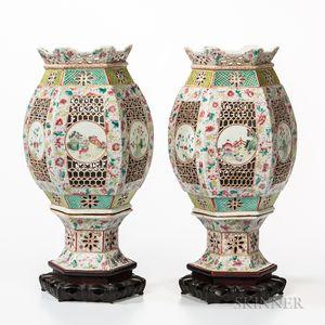 Pair of Famille Rose Porcelain Lanterns